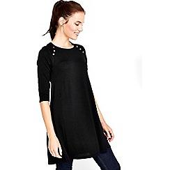Wallis - Black button neck swing dress