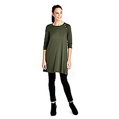 Wallis - Khaki button neck swing dress