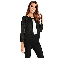 Wallis - Black sparkle hem shrug