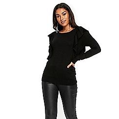 Wallis - Black ruffle shoulder jumper