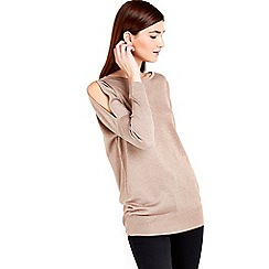 Wallis - Pink metallic cold shoulder top