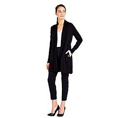 Wallis - Black collar longline cardigan