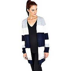 Wallis - Navy striped colourblock cardigan