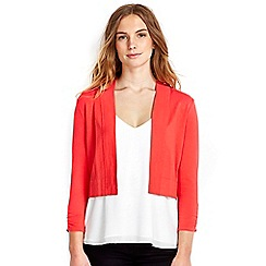 Wallis - Coral ruche sleeve shrug