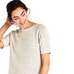 Wallis - Stone short sleeved knitted top