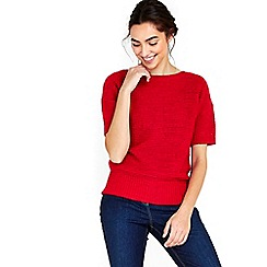 Wallis - Red short sleeved knitted top