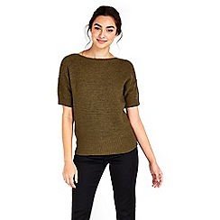 Wallis - Khaki short sleeve knitted top