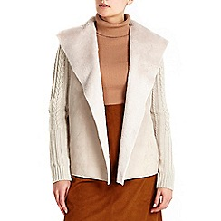 Wallis - Stone faux suede knitted cardigan