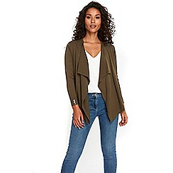 Wallis - Khaki waterfall shrug