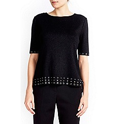 Wallis - Black eyelet hem jumper