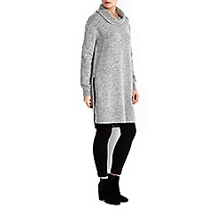 Wallis - Grey roll neck split side tunic jumper