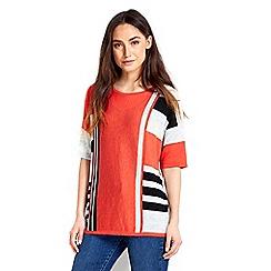 Wallis - Coral multi stripe jumper top