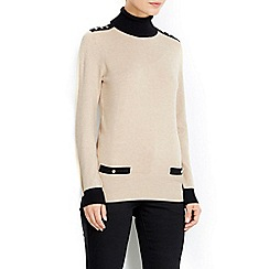 Wallis - Stone tipped popper polo neck