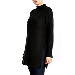 Wallis - Black high neck knitted tunic