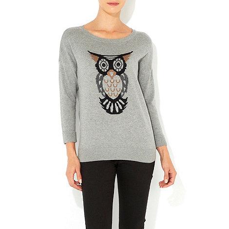 Wallis - Grey owl motif jumper