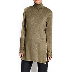 Wallis - Khaki eyelet roll neck tunic