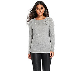 Wallis - Grey pearl shoulder jumper