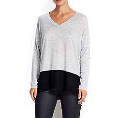 Wallis - Grey border hem jumper