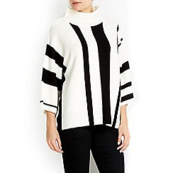 Wallis - Ivory stripe funnel neck jumper