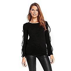 Wallis - Black chiffon ruffle sleeves jumper