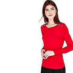 Wallis - Red button shoulder jumper
