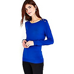 Wallis - Blue button shoulder jumper
