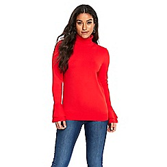 Wallis - Red detailed cuff polo neck jumper