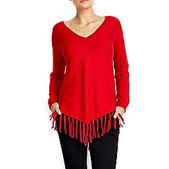 Wallis - Red rib fringe hem jumper