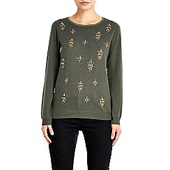 Wallis - Khaki embellished jumper