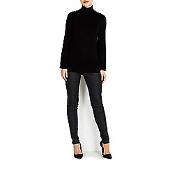 Wallis - Black button polo neck jumper