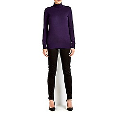 Wallis - Purple button polo neck jumper