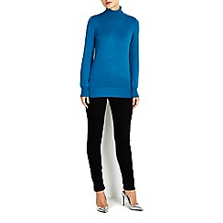 Wallis - Teal button polo neck jumper