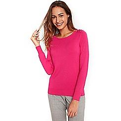 Wallis - Pink eyelet lace up shoulder jumper