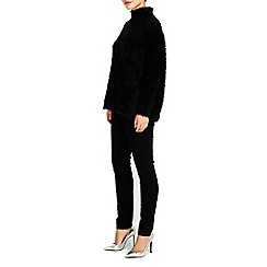 Wallis - Black fluffy polo neck jumper