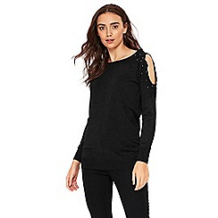 Wallis - Black lace cold shoulder tunic top
