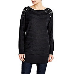 Wallis - Black animal eyelet tunic jumper