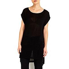 Wallis - Black lace up tunic jumper