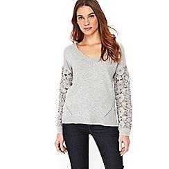 Wallis - Grey lace sleeve jumper