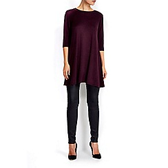 Wallis - Plum zip back swing knitted dress
