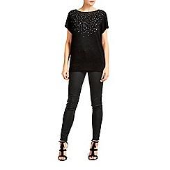 Wallis - Black embellished short sleeve jumper
