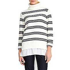 Wallis - Ivory stripe roll neck jumper