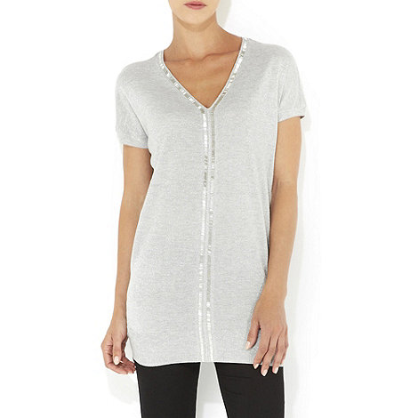 Wallis - Grey beaded jumper