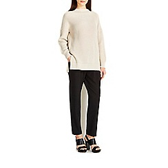 Wallis - Stone ribbed funnel neck jumper