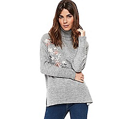 Wallis - Grey embroidered roll neck jumper