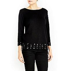 Wallis - Black sparkle gem trim jumper