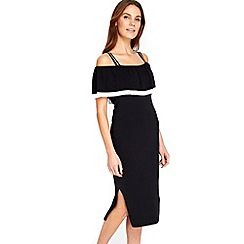 Wallis - Black tipped midi dress
