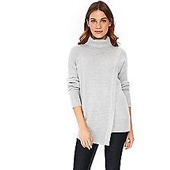 Wallis - Grey sparkle wrap front jumper