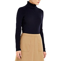 Wallis - Navy rib polo neck jumper