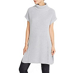 Wallis - Grey sleeveless roll neck split tunic