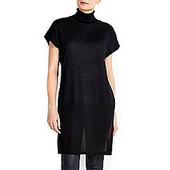 Wallis - Black sleeveless roll neck tunic